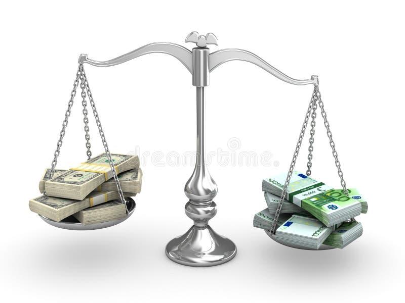 Dollar versus Euro vector illustratie