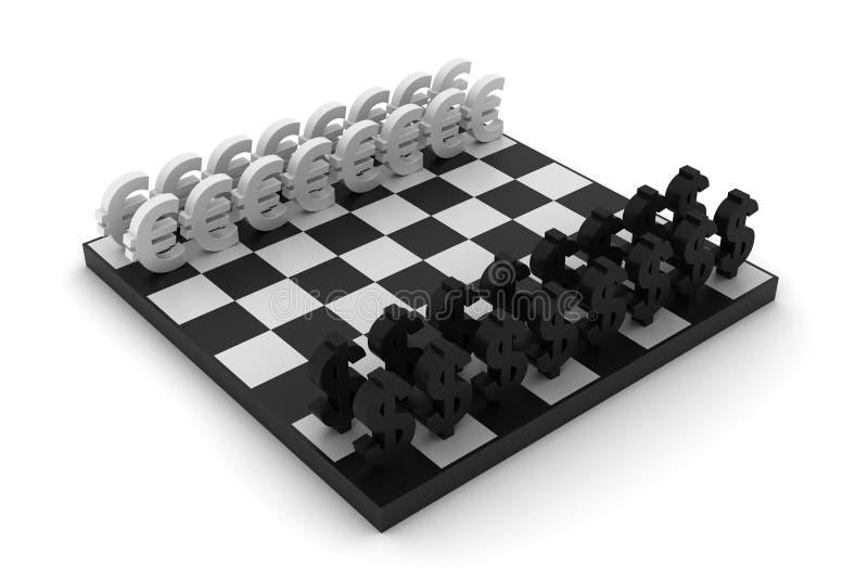 Dollar versus Euro schaak royalty-vrije illustratie