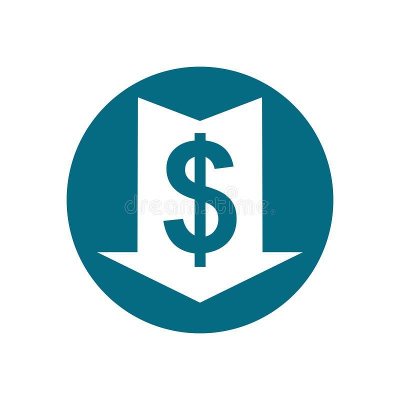 Dollar vert Baisse des prix illustration de vecteur