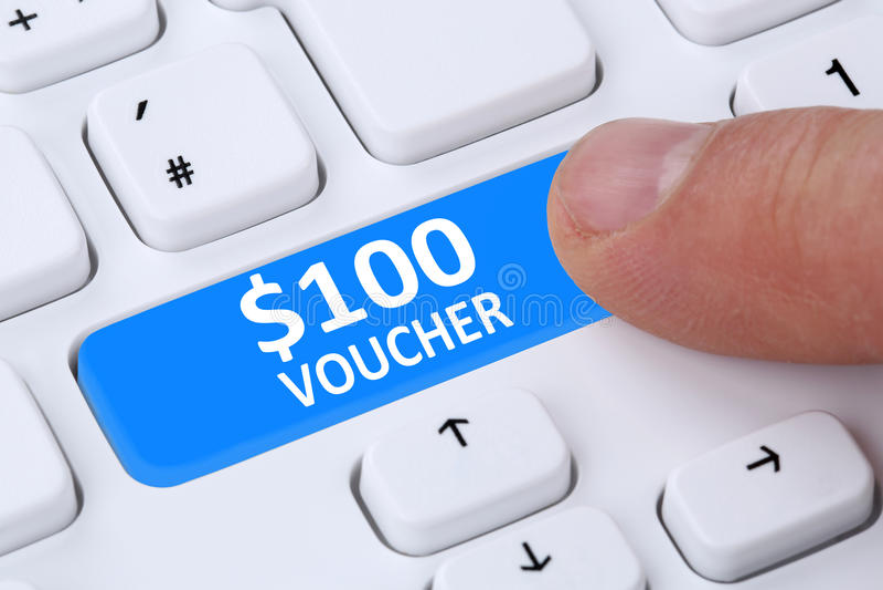 100 Dollar voucher gift discount sale online shopping e-commerce internet shop royalty free stock photo