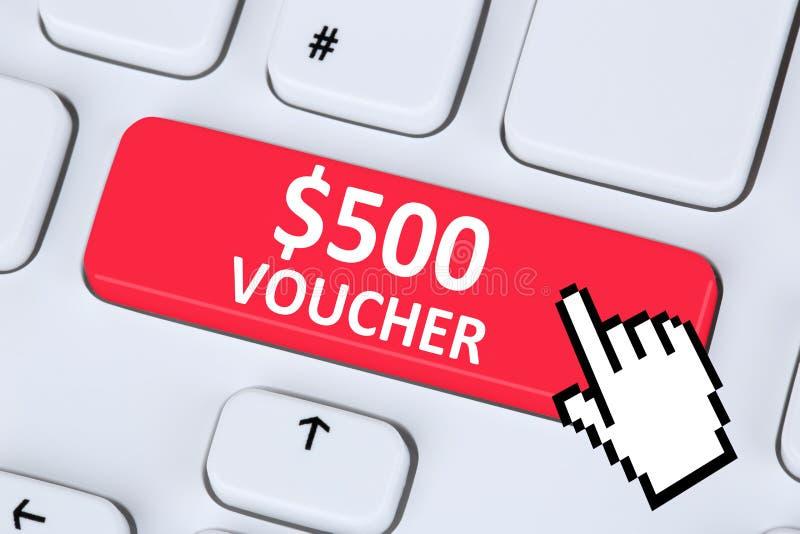 500 Dollar voucher gift discount sale online shopping internet s stock photos