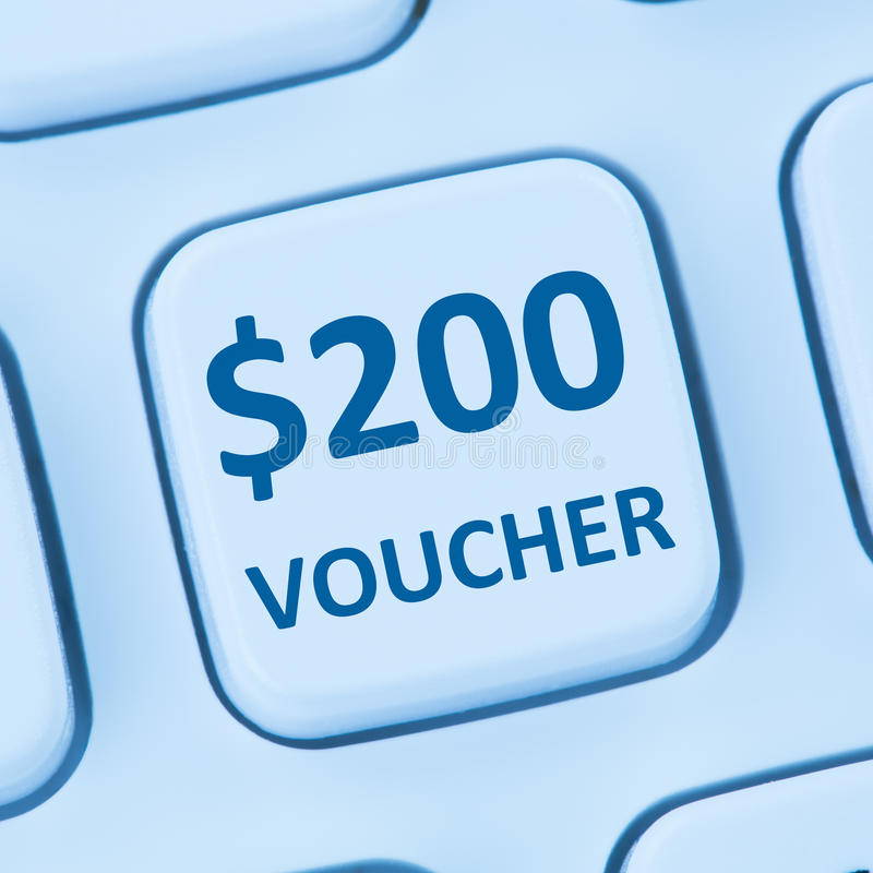 200 Dollar voucher gift discount sale online shopping internet s stock photo