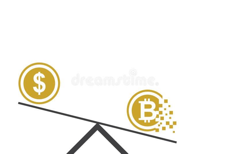 Dollar vs Bitcoin den plana designen av affären och det finansiella begreppet stock illustrationer