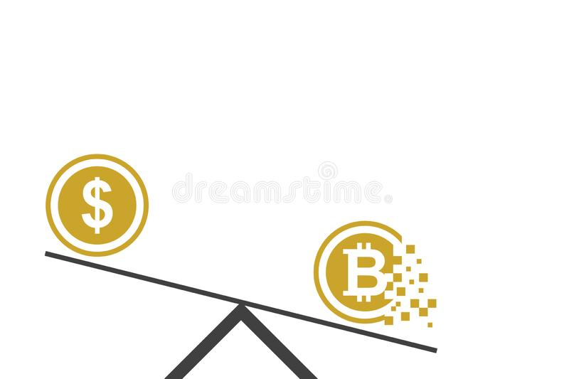 Dollar vs Bitcoin Flat design of business and financial concept stock illustration