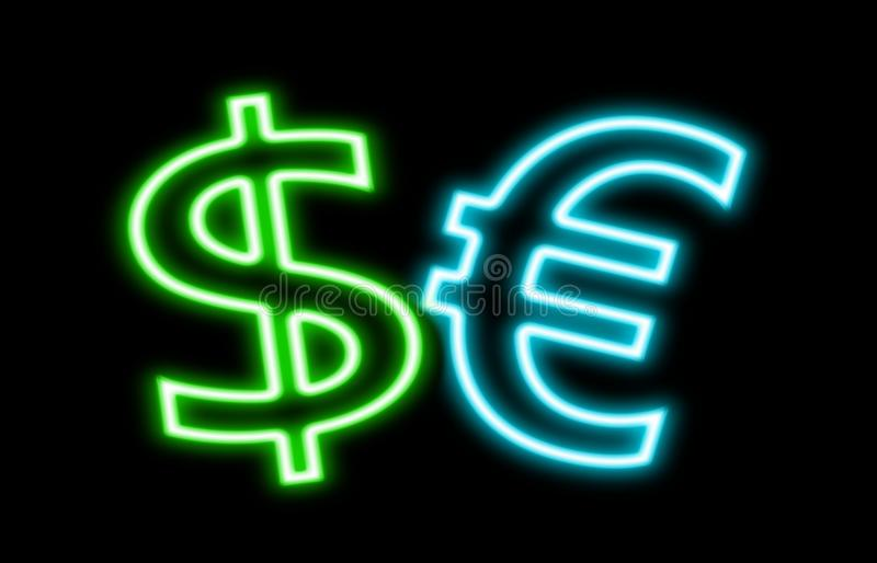 Dollar Vs Euro $ € finance neon sign glow isolated on black royalty free stock image