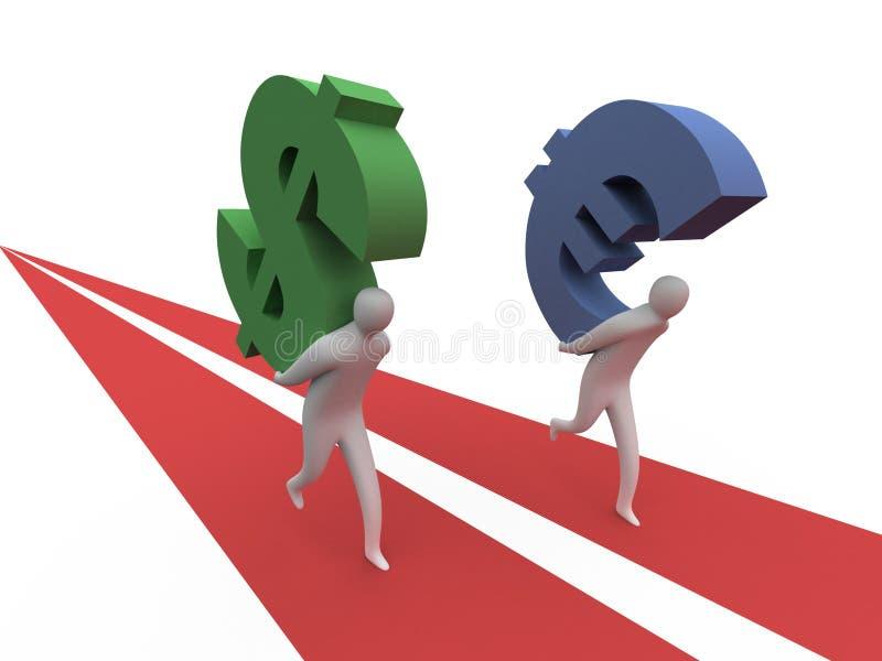 Dollar vs Euro.  stock illustration