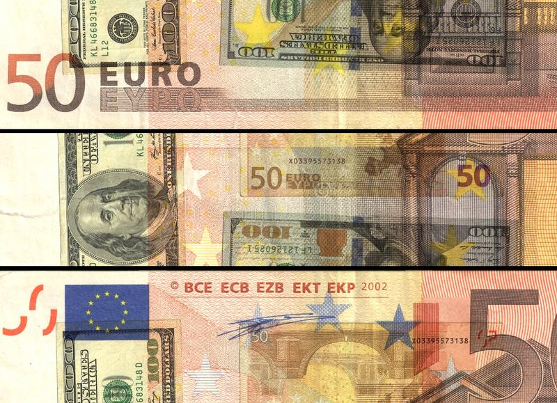 Dollar vs euro financial background. Financial the most powerful currency in the world royalty free stock photo