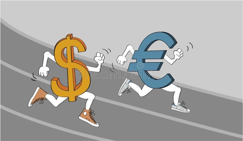 Dollar vs. Euro stock illustration