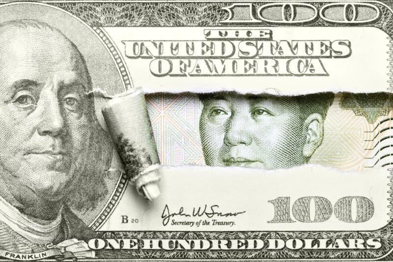 dollar vs yuan arkivbilder