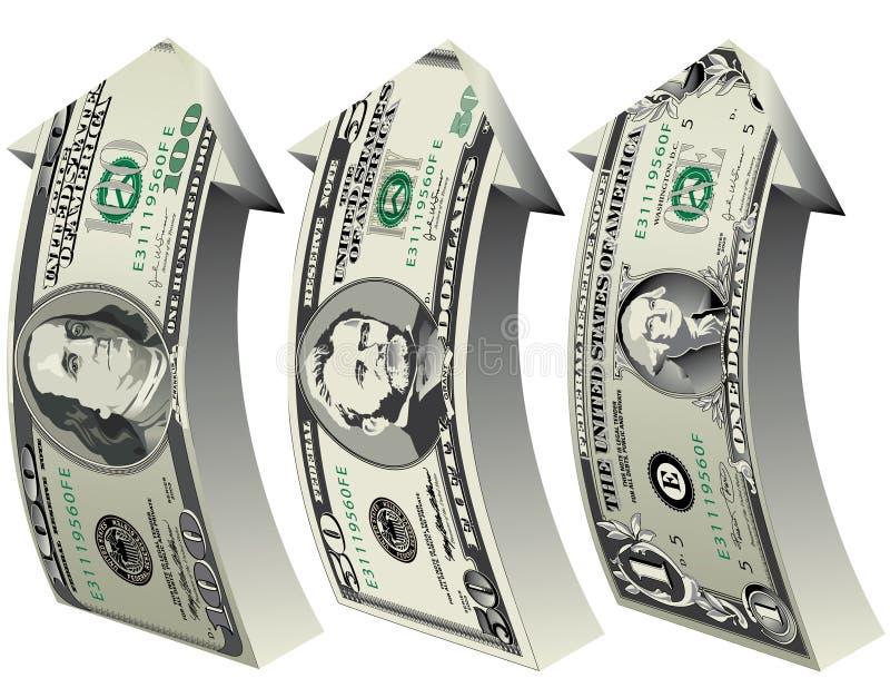 Dollar-Wachstum vektor abbildung
