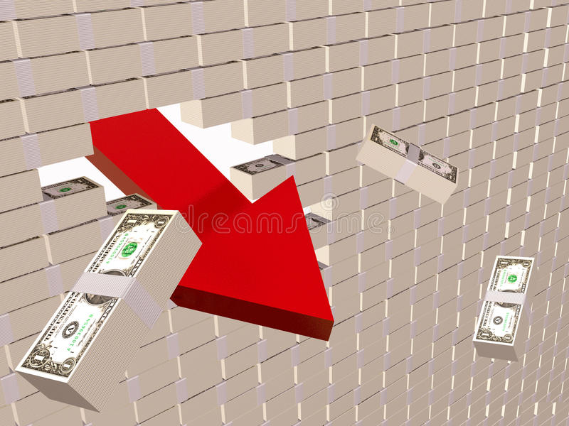 Download Dollar wall stock illustration. Image of loss, downfall - 16011788