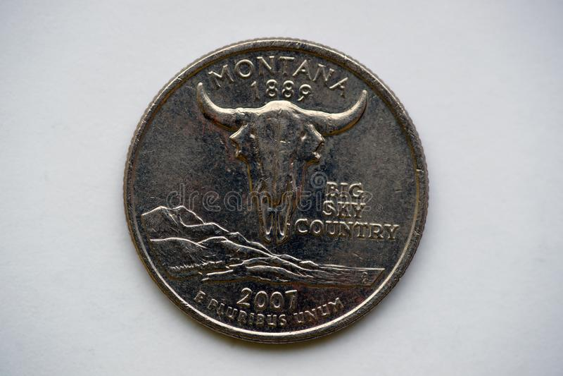1/4 dollar `-Washington Quarter ` Montana fotografering för bildbyråer