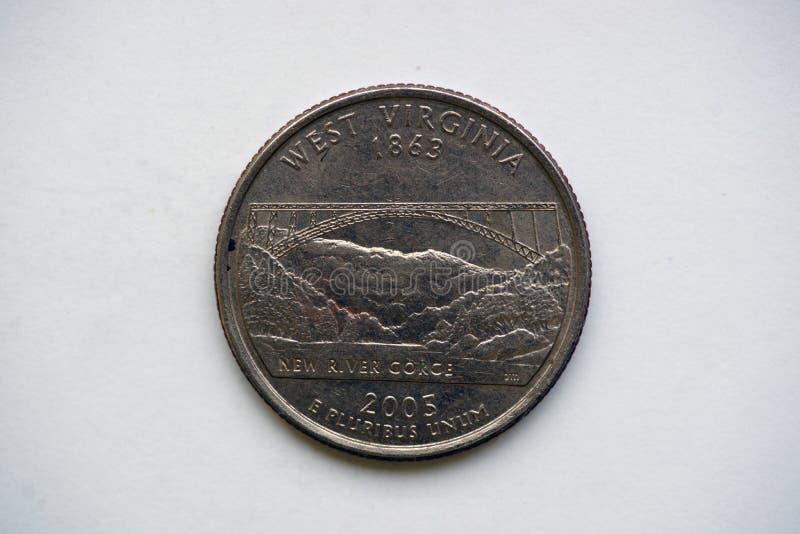 1/4 Dollar ` Washington Quarter-` West Virginia stockfotos