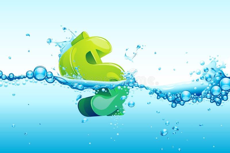 Dollar in water stock illustration