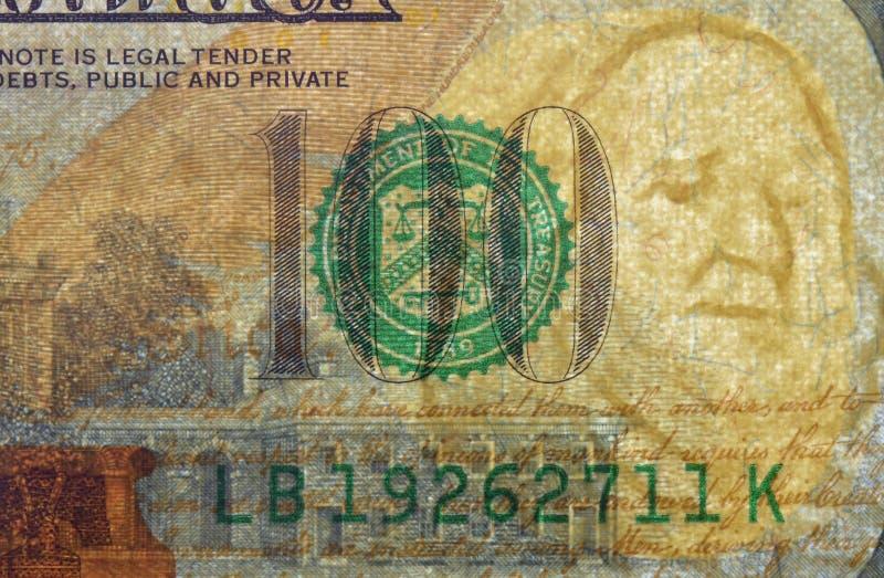 Dollar watermark. Watermark on redesigned new hundred dollar bill stock photo
