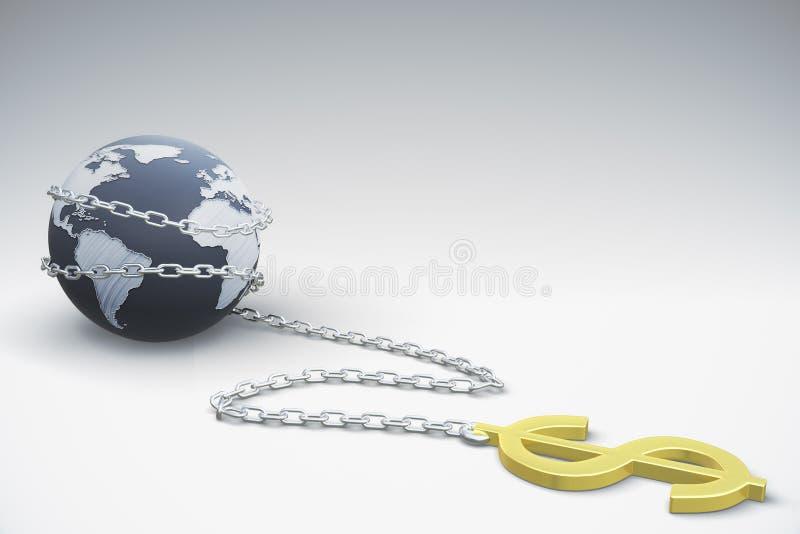 Dollar wird mit der Erde verbunden stock abbildung