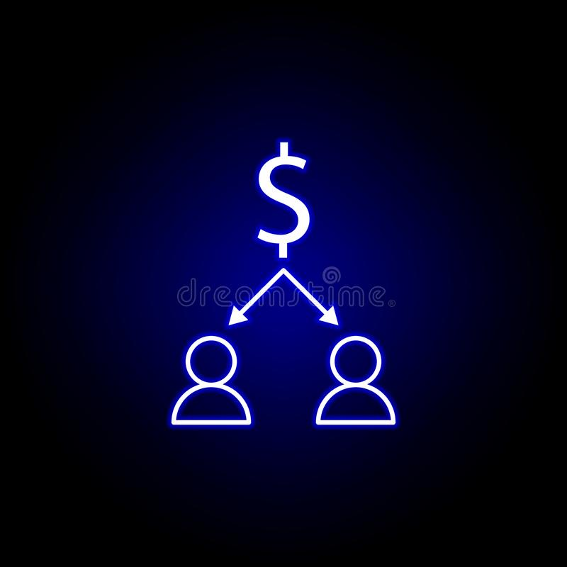 dollar workers arrows icon in neon style. Element of finance illustration. Signs and symbols icon can be used for web, logo, vector illustration