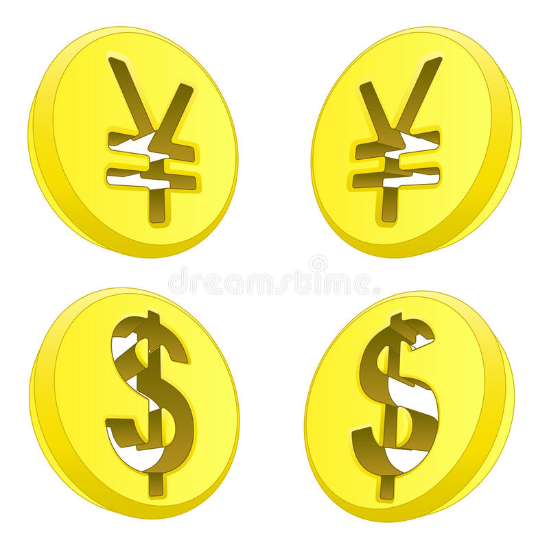 Dollar and yen coin sign exchange. Illustration stock illustration