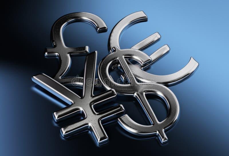 Dollar, yen or yuan, pound, euro signs vector illustration
