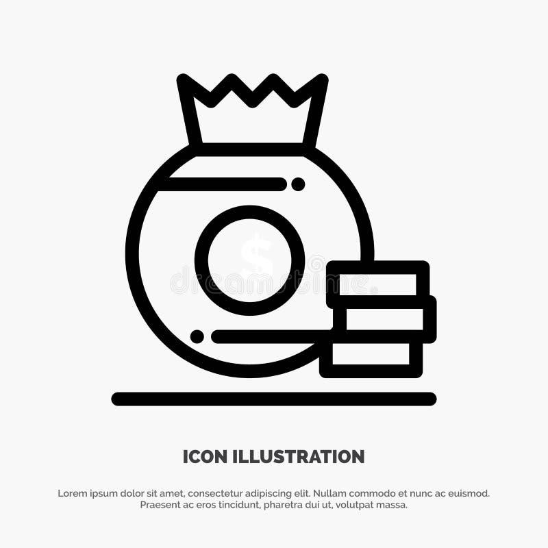 Dollar, Zak, Geld, de Amerikaanse Vector van het Lijnpictogram vector illustratie