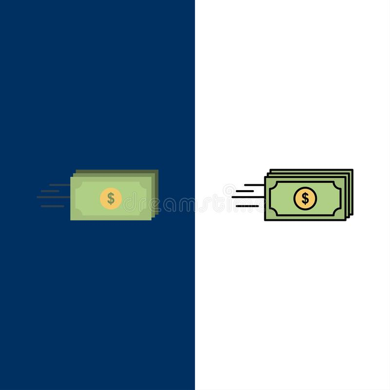 Dollar, Zaken, Stroom, Geld, Muntpictogrammen Vlak en Lijn vulde Pictogram Vastgestelde Vector Blauwe Achtergrond royalty-vrije illustratie