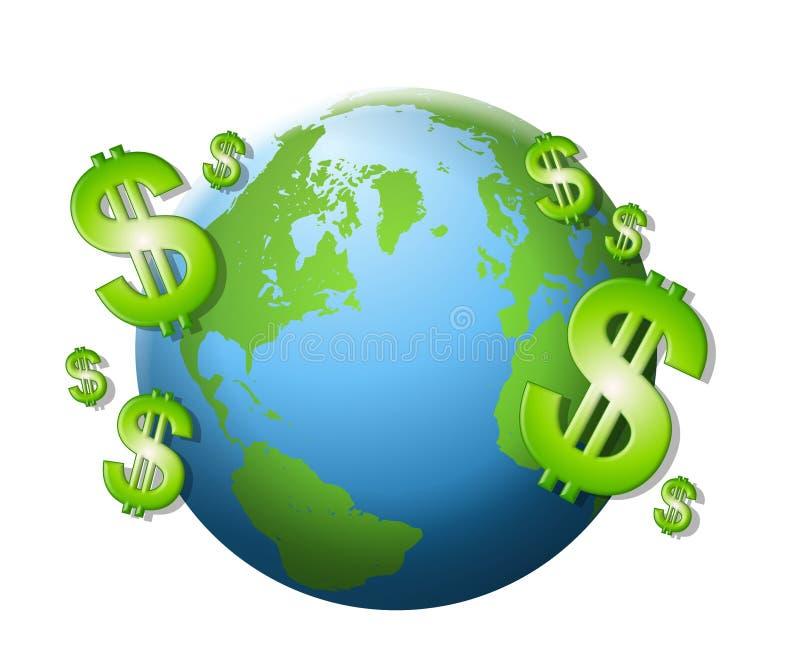Dollar-Zeichen-Bargeld-Erde lizenzfreie abbildung