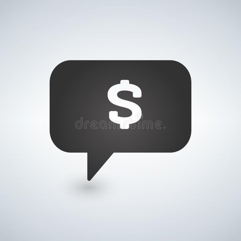 Dollar-Zeichen-Sprache-Blasen-Ikone, Illustration lizenzfreie abbildung