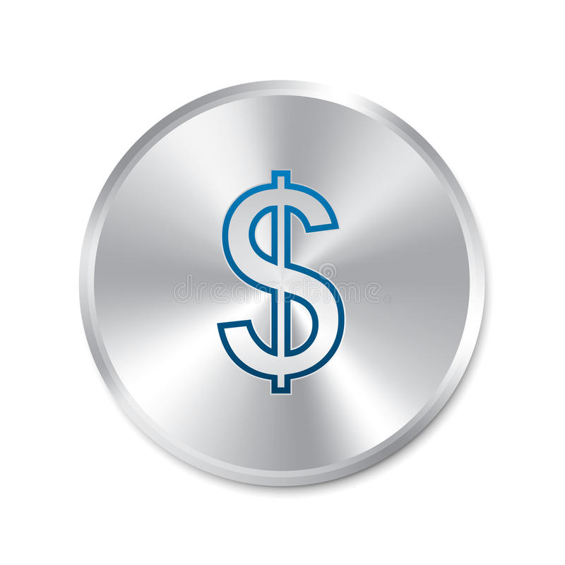 Dollar zilveren teken. Geïsoleerd muntpictogram. vector illustratie