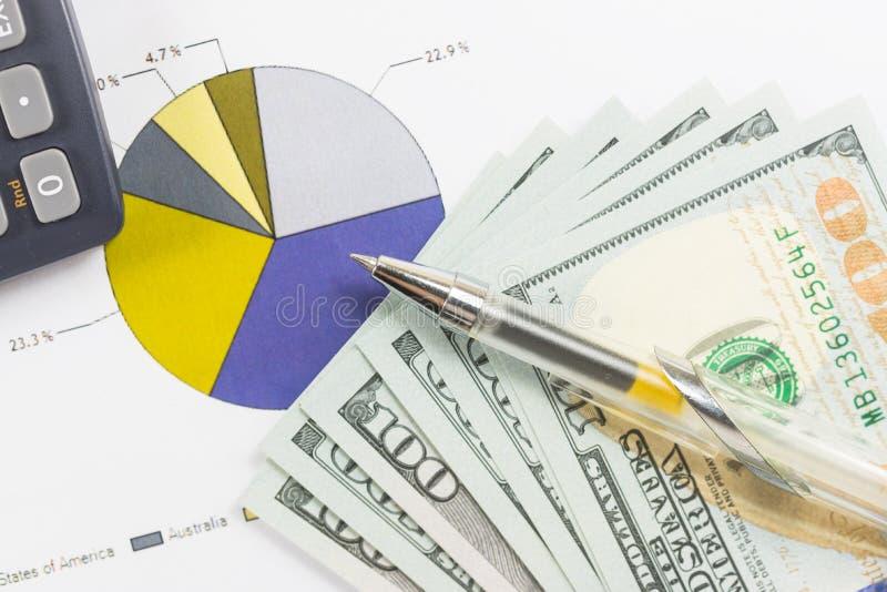 Dollaralla räkningar, räknemaskinen, pennan, affärsdiagram är på tabellen fotografering för bildbyråer