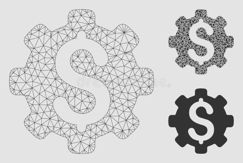 Dollaralternativvektor Mesh Network Model och mosaisk symbol för triangel royaltyfri illustrationer