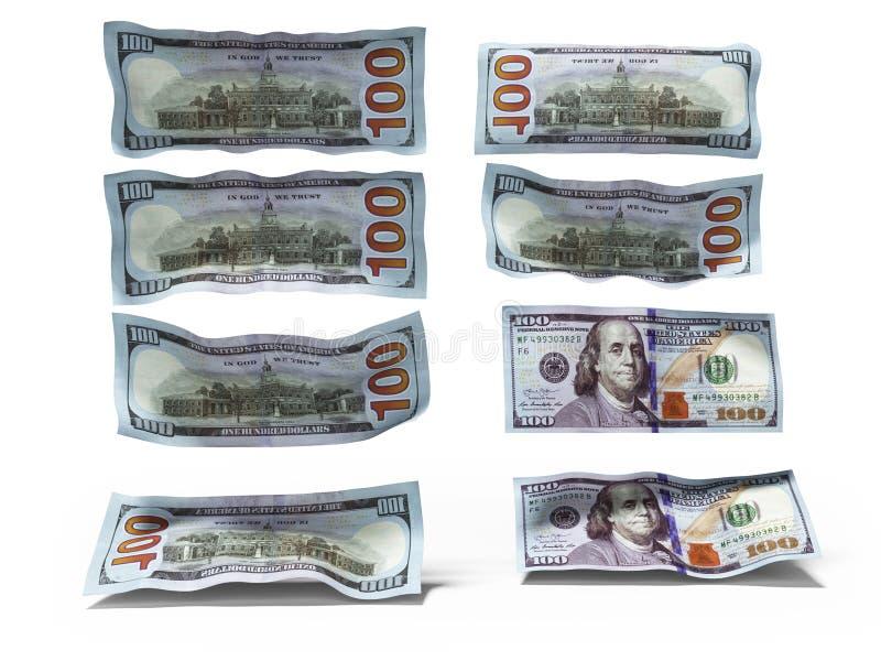 Dollaranmärkningar faller på golvet 3d för att framföra på vit bakgrund med skugga vektor illustrationer