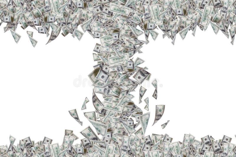 Dollarbankbiljetten die en neer in Tornado vliegen vallen stock foto