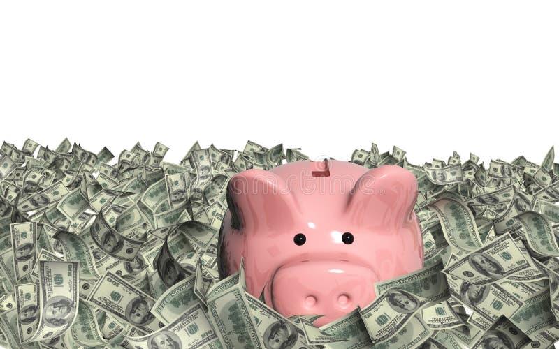 Dollarbankbiljetten en spaarvarken royalty-vrije illustratie