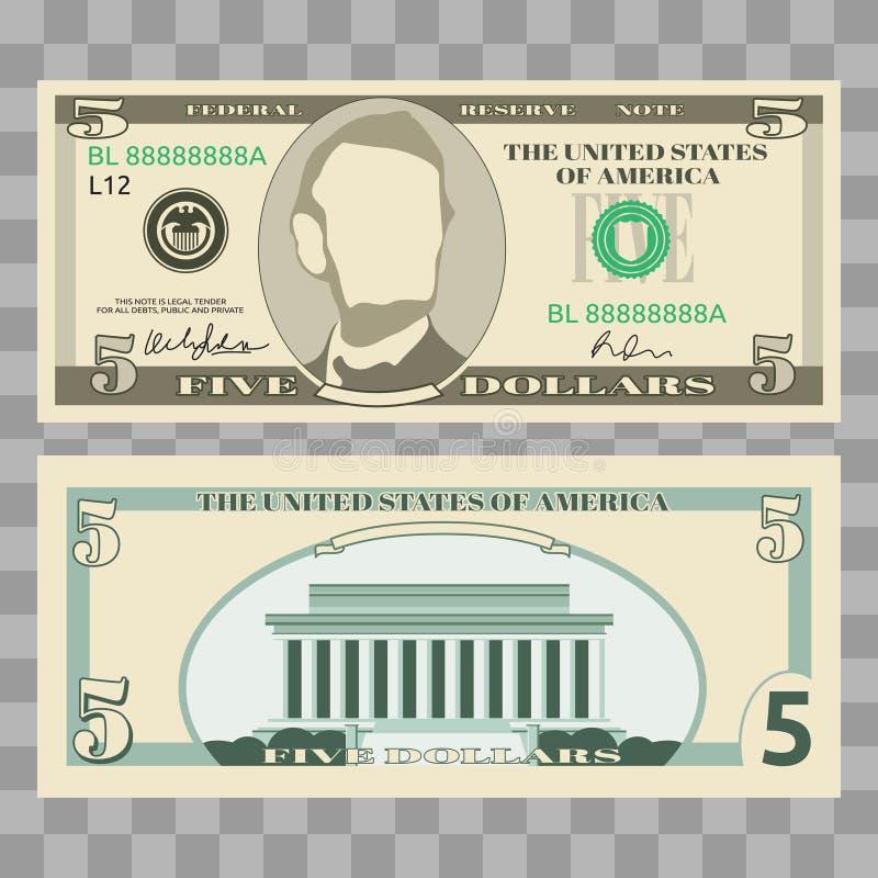 Dollarbankbiljetten, ons de rekeningen van het muntgeld stock illustratie