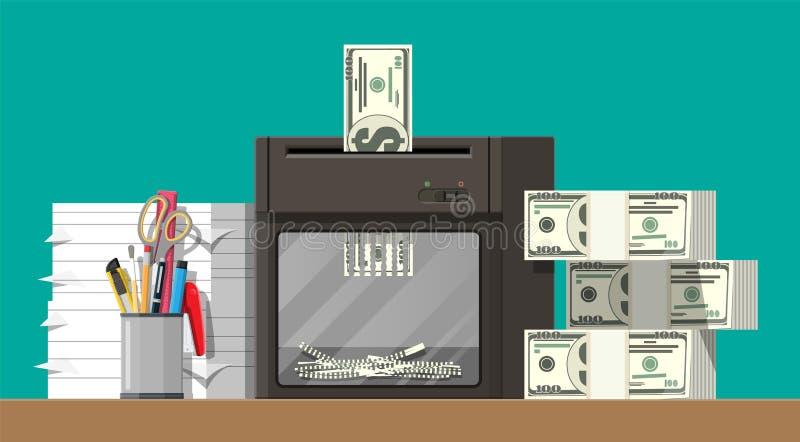 Dollarbanknote in der Reißwolfmaschine lizenzfreie abbildung