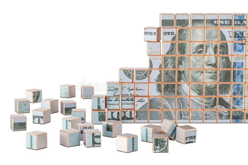 Dollarbanknote von vielen Stücken, Wiedergabe 3D stock abbildung
