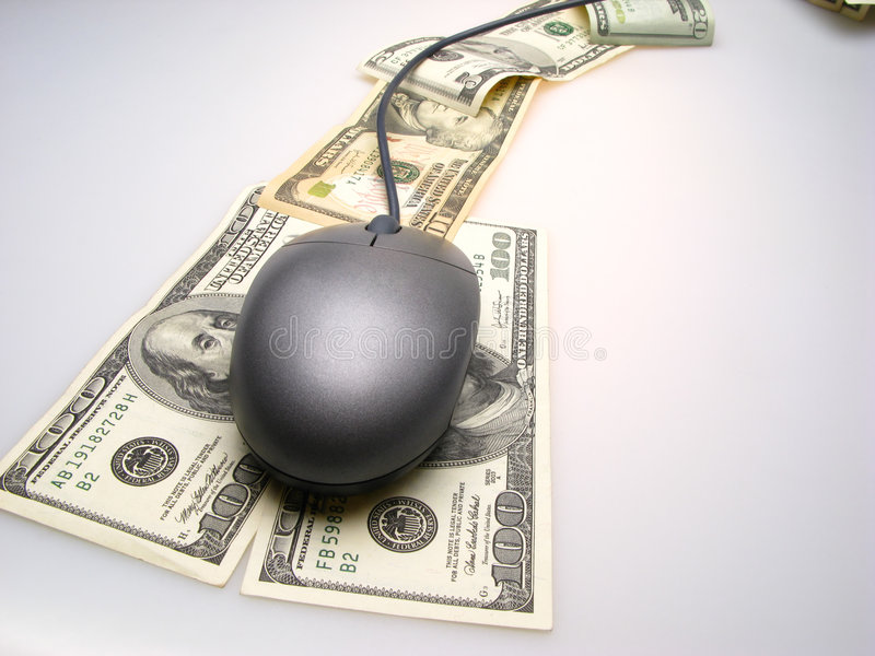 Dollarbanknoten und -maus stockbild