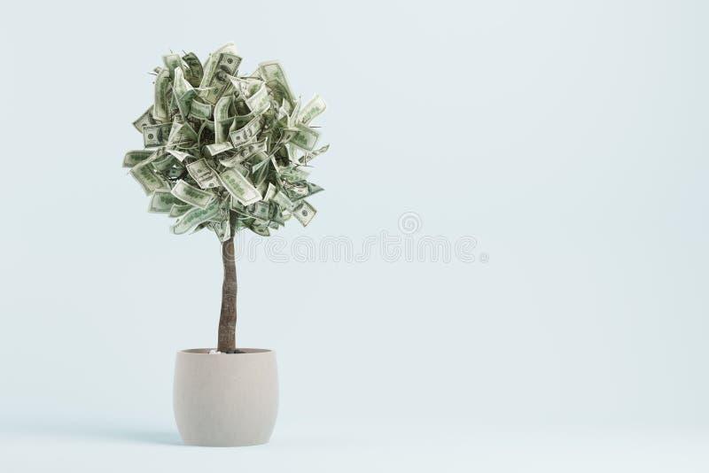 Dollarboom in een pot, blauwe ruimte het 3d teruggeven vector illustratie