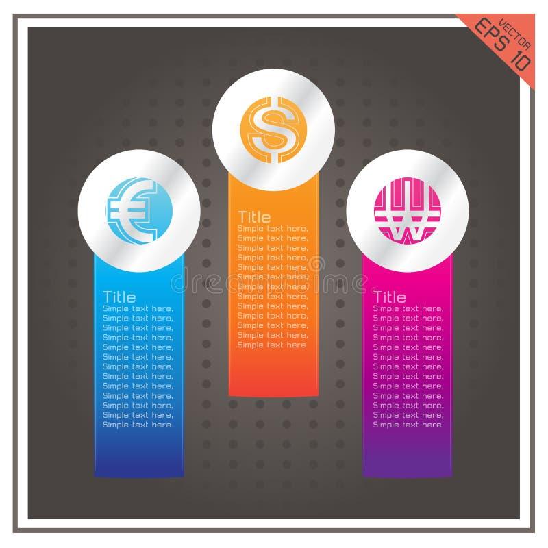 Dollaren för valutaknappeuroet segrade svart bakgrund för vektorn royaltyfri illustrationer