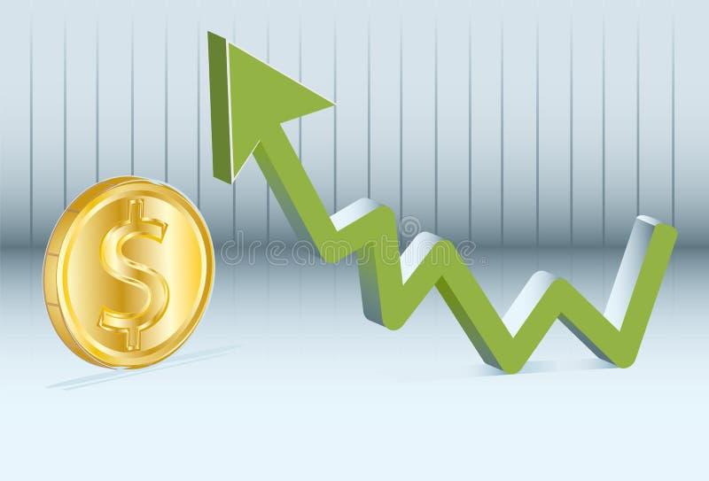 Dollaren går upp royaltyfri illustrationer