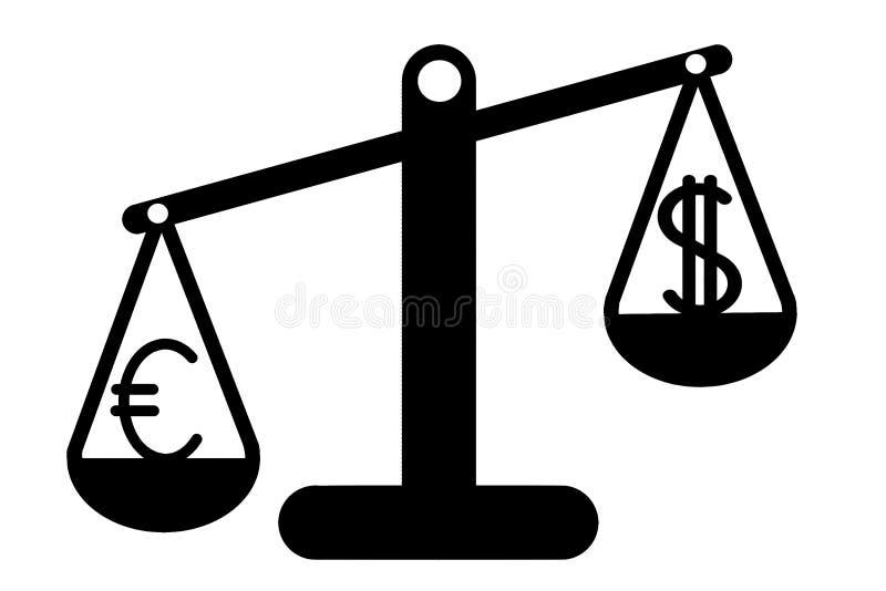 Dollaren och euroet i jämvikten vektor illustrationer