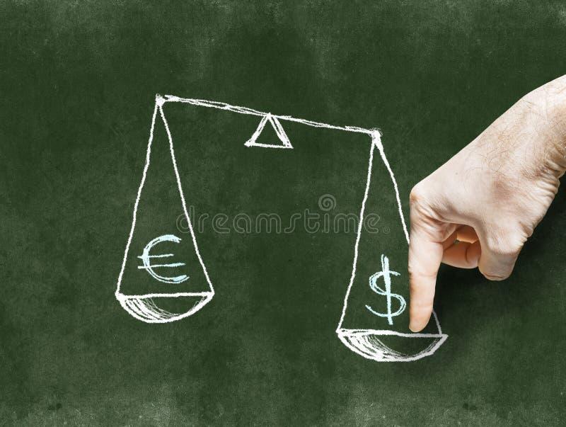 Dollaren och euroet på vågen som dras på svart tavlawina arkivfoto