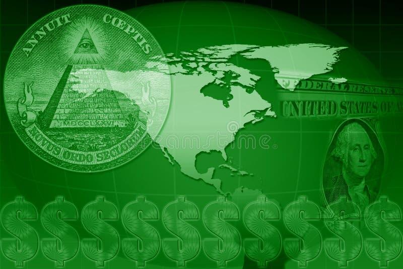 dollaren planerar oss världen royaltyfri illustrationer