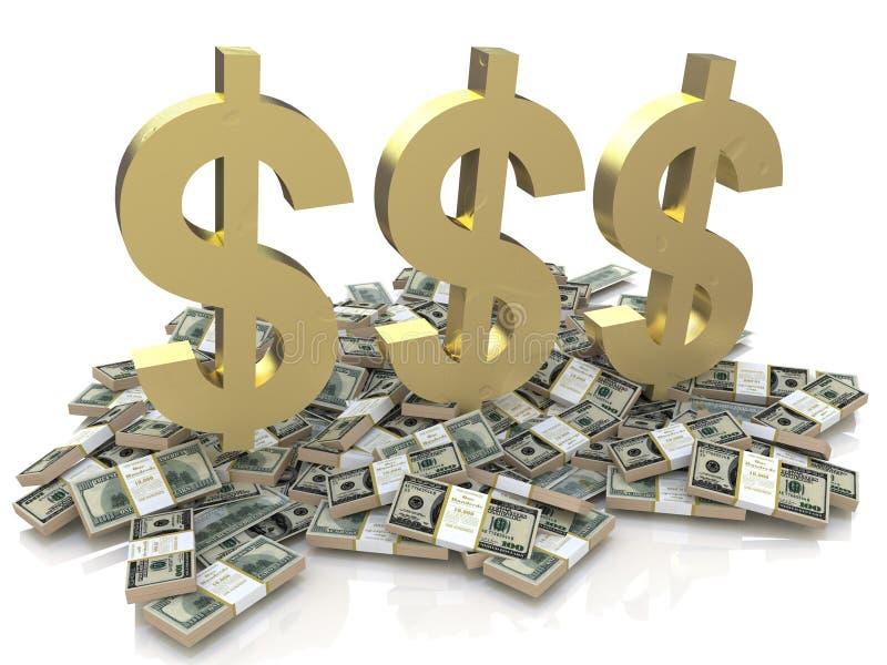 Dollaren undertecknar på pengarna vektor illustrationer