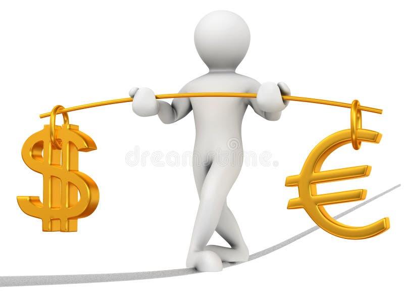dollareuro för jämvikt 3d stock illustrationer