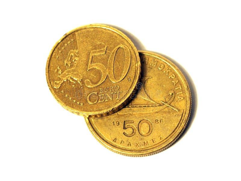 dollareuro vs Grekisk valutakris för drakma arkivbild