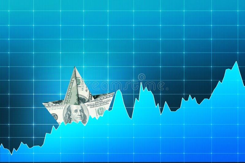 Dollarfartyg på digitalt diagram royaltyfri illustrationer