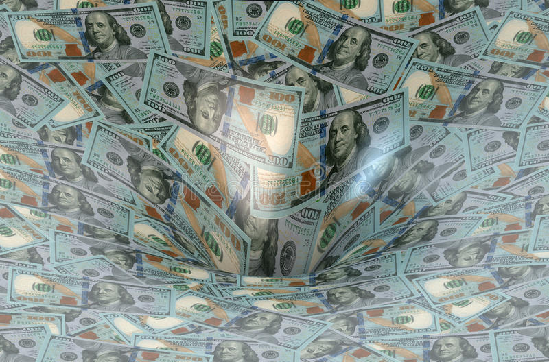 Dollarfluß in Finanzloch stockbilder