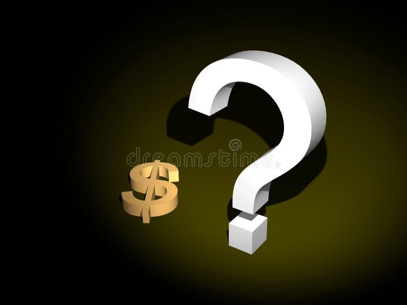 dollarfrågetecken stock illustrationer