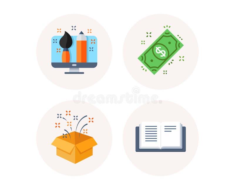 Dollargeld, Geschenkbox und kreative Designerikonen Zeichen des offenen Buches Barzahlung, Geburtstagsgeschenk, Portfolio Vektor vektor abbildung